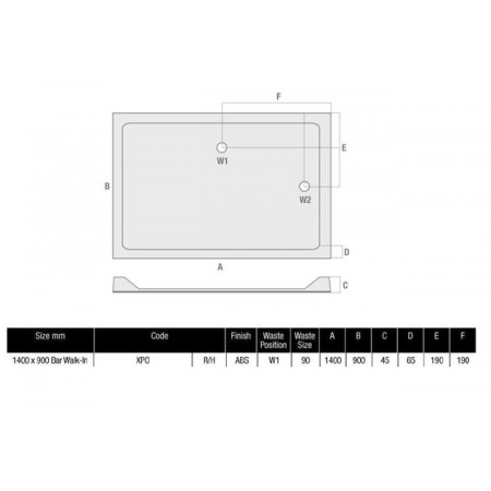 MX Durastone 1400 x 900 Rectangular Shower Tray Low Profile Right Hand Walk In | XPO