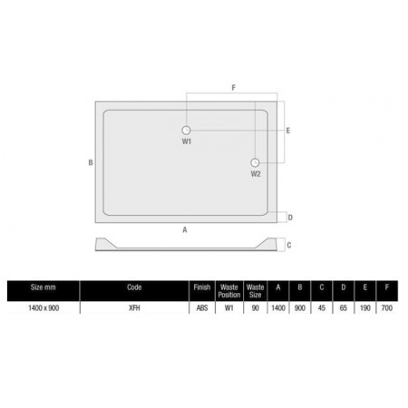 1400 x 900 Rectangular Shower Tray Durastone Low Profile