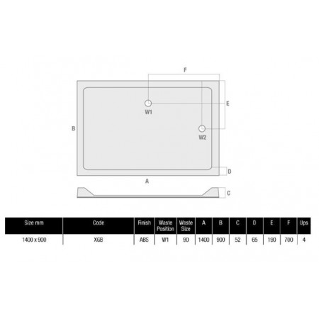 MX Durastone 1400 x 900 Rectangular Shower Tray With Upstands  Low Profile | XGB