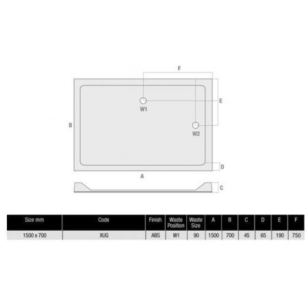 1500 x 700 Rectangular Shower Tray Durastone Low Profile