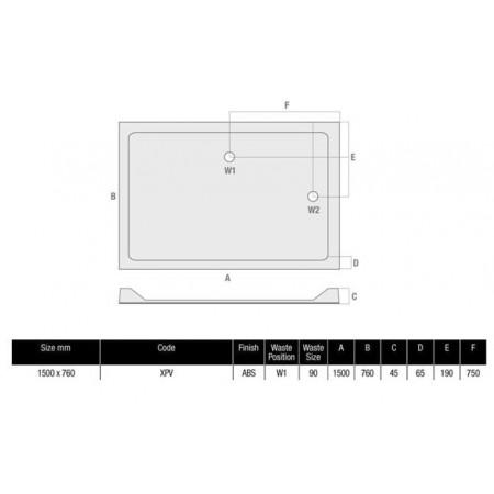 1500 x 760 Rectangular Shower Tray Durastone Low Profile