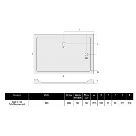 1700 x 700 Rectangular Shower Tray Durastone Low Profile