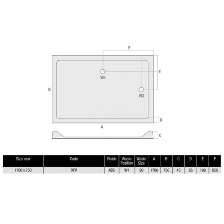 1700 x 750 Rectangular Shower Tray Durastone Low Profile
