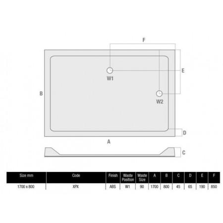 1700 x 800 Rectangular Shower Tray Durastone Low Profile