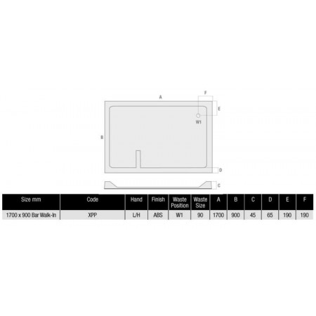 1700 x 900 Rectangular Shower Tray Durastone Low Profile Left Hand Walk In