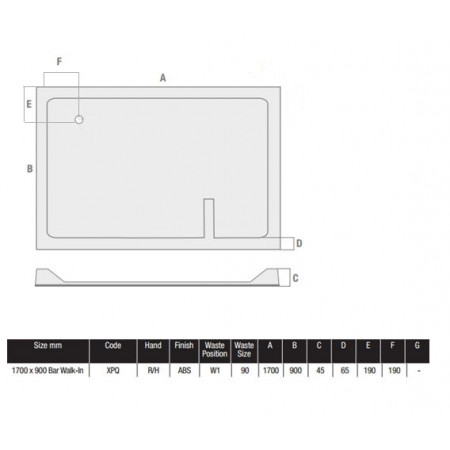 1700 x 900 Rectangular Shower Tray Durastone Low Profile Right Hand Walk In