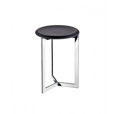Smedbo Outline Shower Stool, Black Seat Stainless Steel Frame