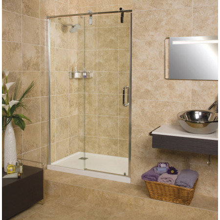 Roman Decemx Sliding Shower Door 1400mm Alcove Fitting with Curved Hardware