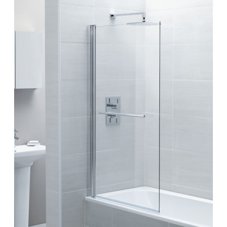 April Identiti 2 Square Single Bath Screen with Towel Rail 800mm