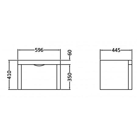 600 Parade High Gloss White 1 Drawer Wall Hung Unit inc Basin