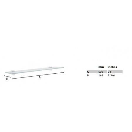 Smedbo Air Glass Shelf Polished Chrome 600mm