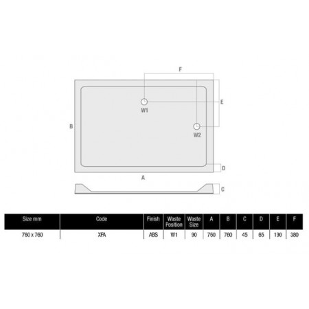 760 Square Shower Tray Low Profile Stone Resin | XFA
