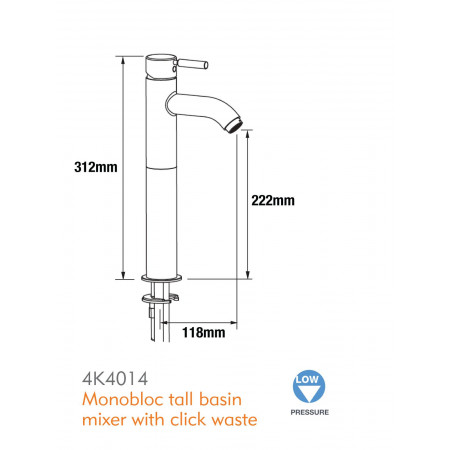 Pegler Visio Tall Basin Mixer with Click waste