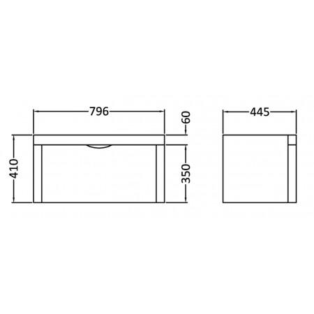 800 Parade High Gloss White 1 Drawer Wall Hung Unit inc Basin