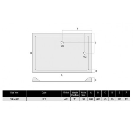 MX Duco 800mm Square Shower Tray Low Profile Polymer Stone Resin | XFB