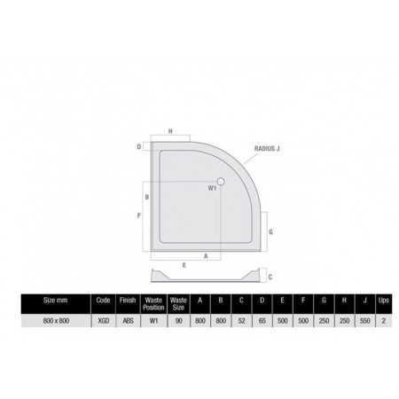 800 x 800 Quadrant Low Profile Shower Tray With Upstands