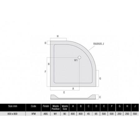 800 x 800 Quadrant Low Profile Shower Tray