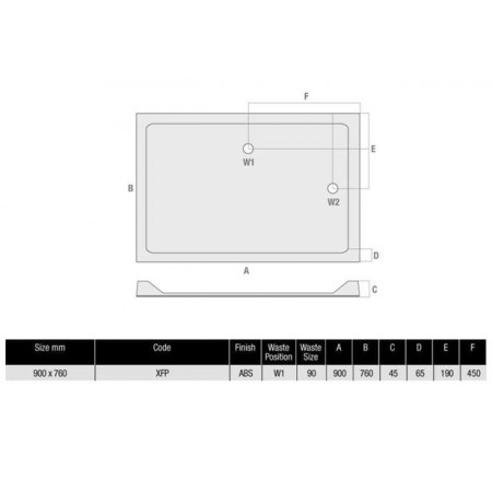 MX Durastone 900 x 760 Rectangular Shower Tray Durastone Low Profile | XFP