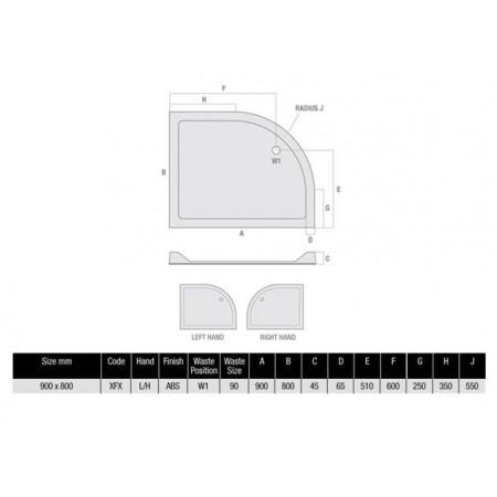 900 x 800 Offset Flat Top Shower Tray Durastone Low Profile 550 Radius Left Hand