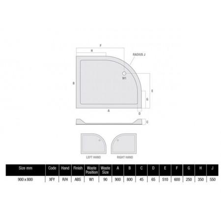 900 x 800 Offset Flat Top Shower Tray Durastone Low Profile 550 Radius Right Hand