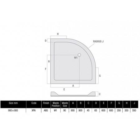 900 x 900 Quadrant Low Profile Shower Tray