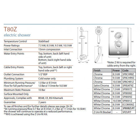 Triton T80Z Fast Fit Electric Shower 9.5KW Chrome