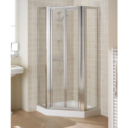 Lakes Bathrooms 900mm Framed Pentagon Shower Enclosure with Bifold Shower Door
