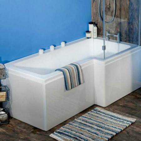 Ajax L Shaped 1700mm Shower Bath with Screen and Bath Panel Left Hand