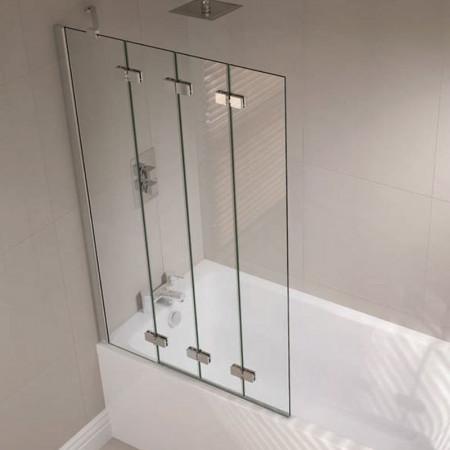 April Prestige Frameless 4 Fold Bath Screen Left Hand