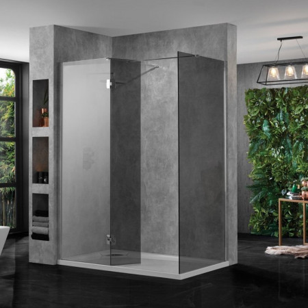 Aquadart 10 Corner Wetroom 1400mm Smoked Glass Front and Side Panel