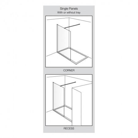 Aquadart Wetroom 10 Smoked Glass Shower Panel 1400mm