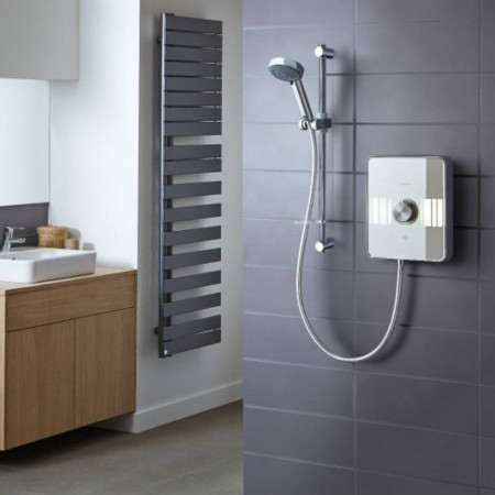 Aqualisa Lumi 10.5kw electric shower white & chrome in room setting