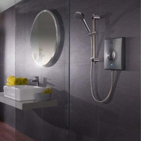 Aqualisa Quartz 10.5kw Electric Shower Graphite in room setting