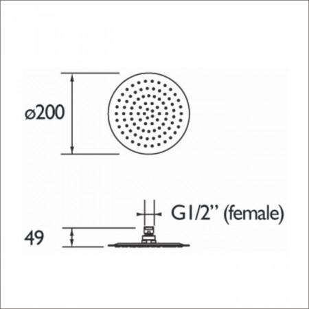 Bristan Stainless Steel Slimline 200mm Round Fixed Shower Head