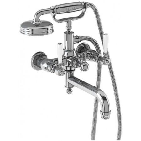 Burlington Arcade Bath Shower Mixer (Chrome) - Wall Mounted - Ceramic Lever