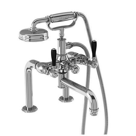 Burlington Arcade Bath Shower Mixer Deck Mounted in Chrome With Black Handles
