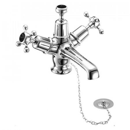 Burlington Claremont Monobloc Basin Mixer with Plug & Chain Waste & Black Indices