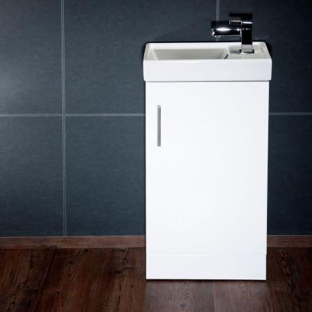 Cassellie Cube Single Door Vanity Unit in Gloss White 400mm