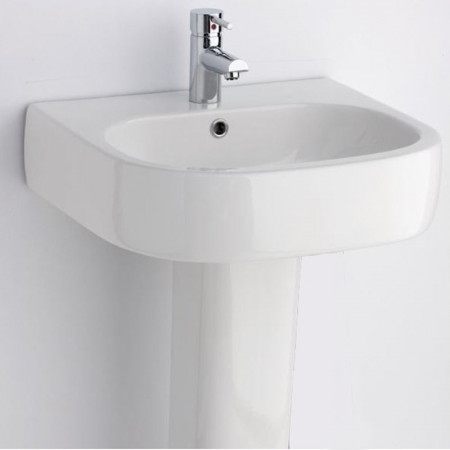 Essential Eternity Square Basin with Pedestal 1 Tap Hole 550mm