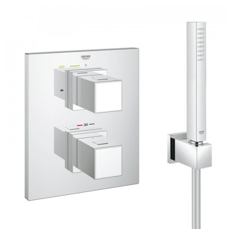 Grohe Grotherm Cube Thermostatic Shower Mixer With Fixed Head & Handset-3