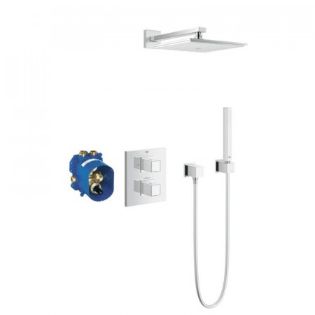 Grohe Grotherm Cube Thermostatic Shower Mixer With Fixed Head & Handset-1