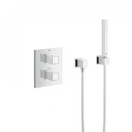 Grohe Grotherm Cube Thermostatic Shower Mixer With Fixed Head & Handset-2