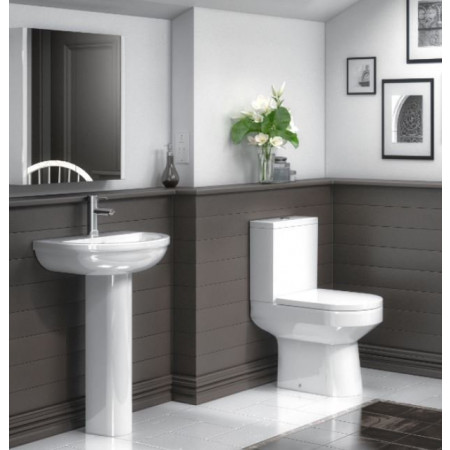 Harmony 4 Piece Bathroom Suite - Toilet & 500mm 1TH Basin with Pedestal