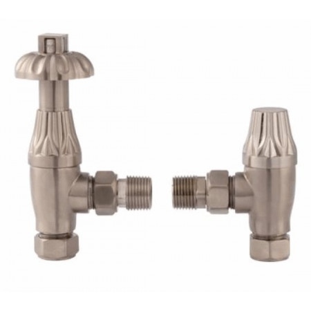 Hudson Reed Chrome Knightsbridge Thermostatic Radiator Valve Pack (Satin Nickel)
