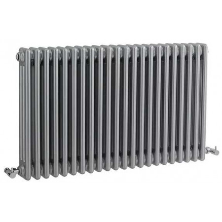 Hudson Reed Horizontal Wall Mounted Colosseum Radiator - H600 x W1011mm - High Gloss Silver