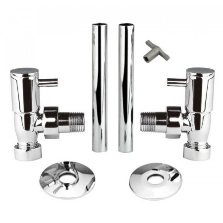 Hudson Reed Minimalist Radiator Valves Angled with Decorative Pipes HT310