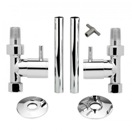 Hudson Reed Minimalist Radiator Valves Straight with Decorative Pipes HT320