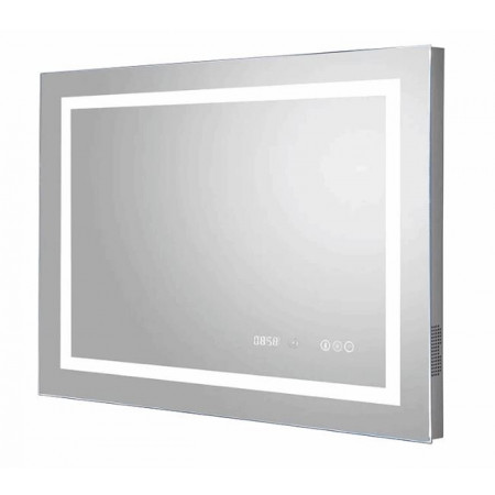 Hudson Reed Prisma LED Touch Sensor Mirror with Clock, De-mister Pad & Bluetooth Speakers