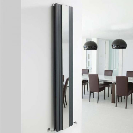 Hudson Reed Sloane Double Radiator With Mirror 1800mm x 381mm Anthracite