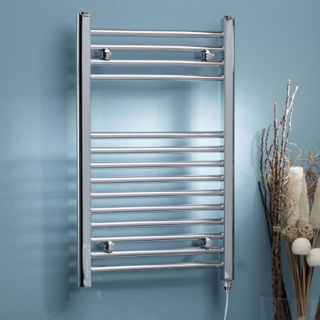 Kartell Electric Straight Heated Chrome Plated Towel Rail 500mm x 800mm